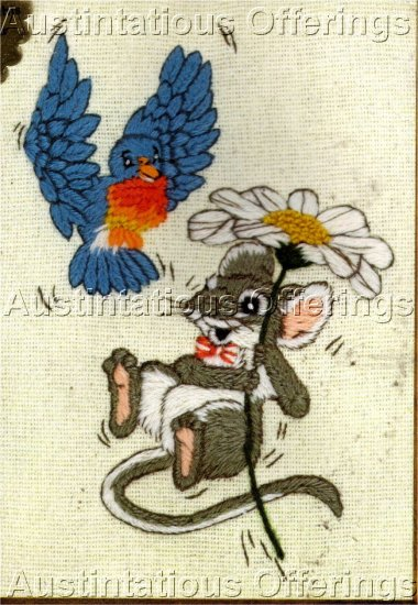 RARE LINDA POWELL  MOUSE AND BLUEBIRD DAISY CREWEL EMBROIDERY KIT
