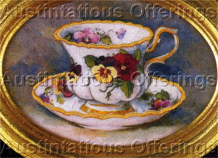 TEACUP DELICATE FLOWER CREWEL EMBROIDERY KIT