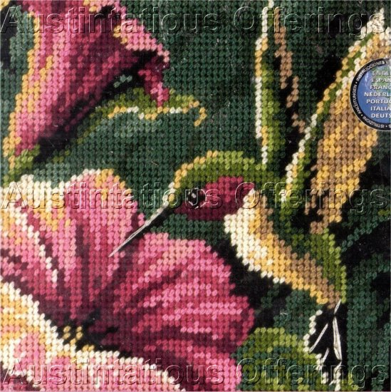 HUMMINGBIRD AND FLOWERS NEEDLEPOINT KIT BIRD FLOWER