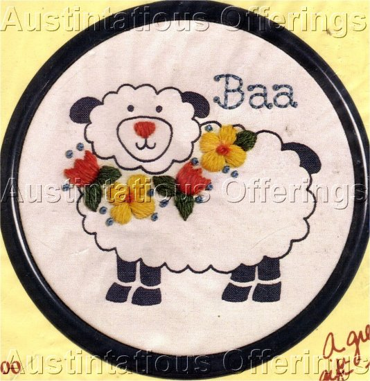STITCHABLES VINTAGE LAMB CREWEL EMBROIDERY KIT SHEEP FLOWERS