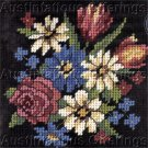 CLASSIC FLOWERS NEEDLEPOINT KIT ROSE DAISIES BLACK BACKGROUND