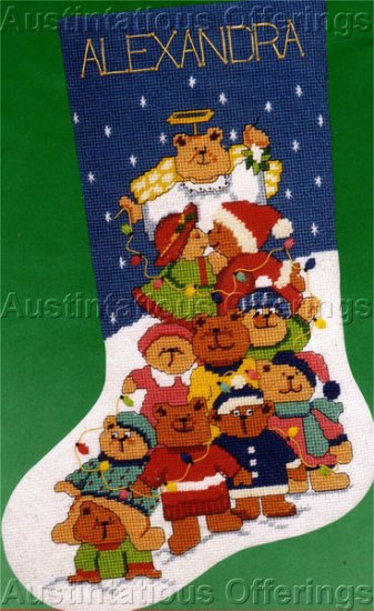 Cuddly Christmas Tree Teddy Bears Needlepoint Stocking Kit