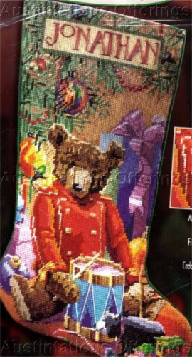 NEEDLEPOINT STOCKING KIT LITTLE DRUMMER BEAR NANCY ROSSI