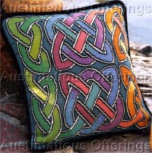 Elegant Barrani Rainbow Celtic Knot Needlepoint Pillow Kit