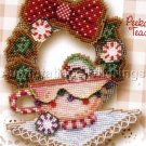 Christmas Elf Babies Bead Cross Stitch Kit Brooke's Books Teacup