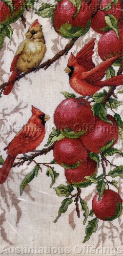 apple orchard birds cross stitch