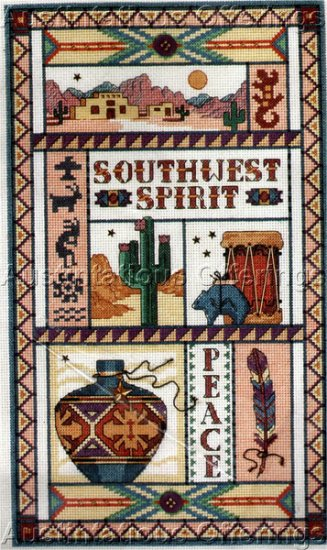 Judy Hand Southwest Spirit Cross Stitch Sampler Kit Native American Interest