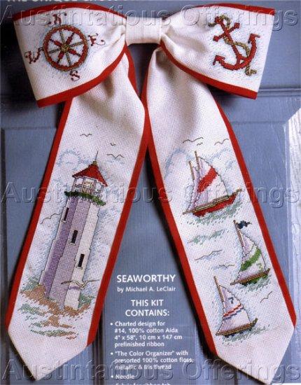 LeClair Nautical Cross Stitch Bow Tie Kit Lighthouse Sailboats