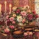 Rare Lena Liu Romantic Music & Floral Still Life Cross Stitch Kit Violin & Candle Light