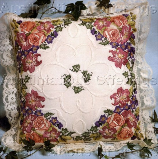 Elegant Summer Floral Candlewicking & Crewel Embroidery Kit Roses Lilies & Bluebells