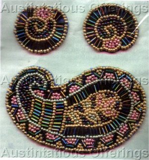 Rare Benson Beaded Brooch and Earring Set Card Beading Kit Irridescent Paisley