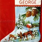 RARE RUSSELL BUSHEE CREWEL EMBROIDERY CHRISTMAS STOCKING KIT FOREST DEER