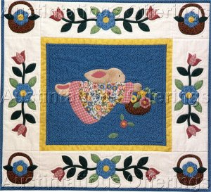 Country Bunny Appliqued Quilt Kit Rabbit with Basket Wall Hanging Quilting Set