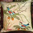 Rare Love Birds Crewel Embroidery Pillow Kit Wood Block Art Belgian Linen
