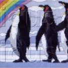 PENGUIN CHORUS LINE  LONGSTITCH NEEDLEPOINT KIT RAINBOW PROMENADE