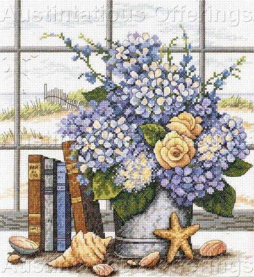 Barbara Mock Beachside Bouquet Cross Stitch Kit Hydrangeas