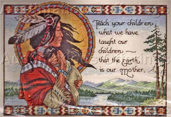 Himsworth Native American Woman & Child Cross Stitch Kit Respect Earth Mother