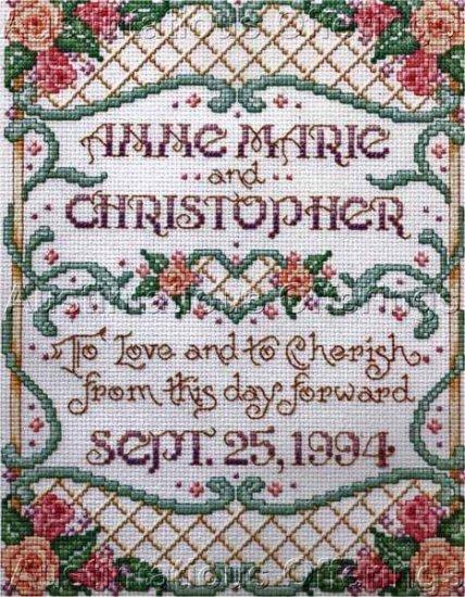 Sandy Orton Floral Wedding Sampler Counted Cross Stitch Kit Love Cherish