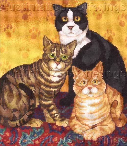 RARE BAATZ FOLK ART CATS NEEDLEPOINT KIT TIGER SPIKE AND MISS ABIGAIL