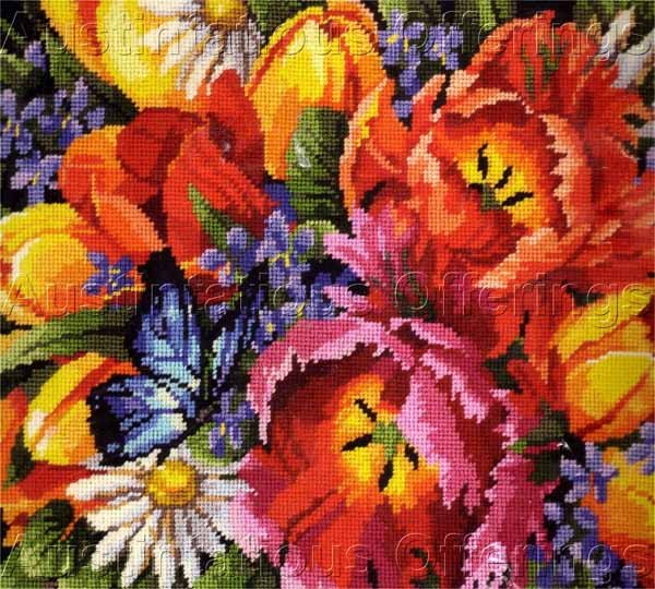 SPECTACULAR ROSSI SPRING BOUQUET NEEDLEPOINT PILLOW KIT