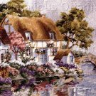 RARE DERTNER RIVERSIDE GARDEN NEEDLEPOINT KIT THATCHED ROOF COTTAGE