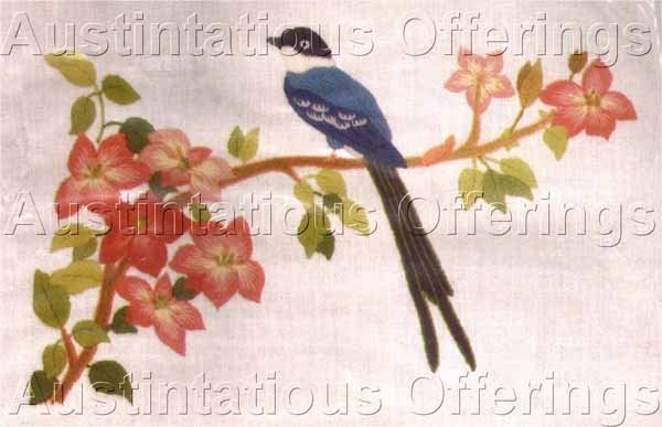 TRADITIONAL ORIENTAL LONG TAILED BIRD BLOSSOMS CREWEL EMBROIDERY KIT