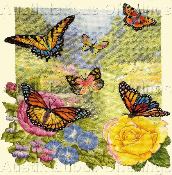 Exquisite Butterflies in Summer Garden Counted Cross Stitch Kit  Heirloom