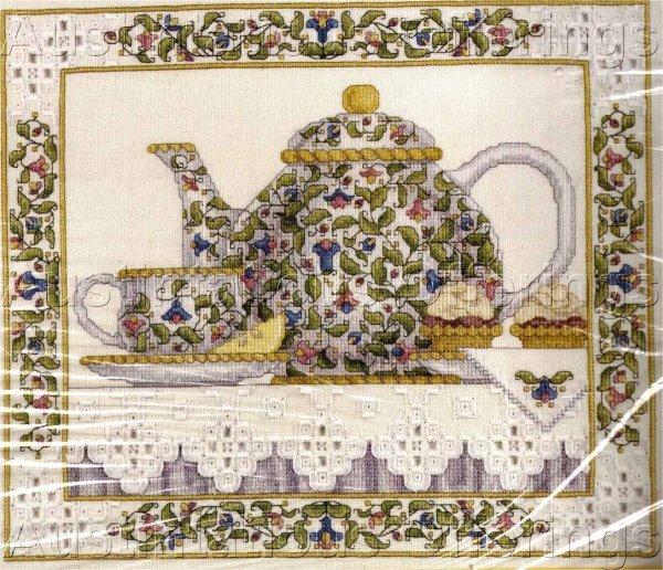 Rare Tea Pot Still Life Cross Stitch Kit Evenweave Wentzler Hardanger