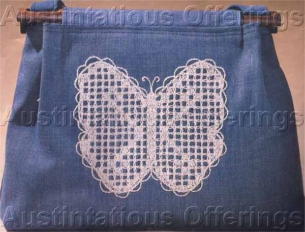 LACY BUTTERFLY JEANS PURSE WHITEWORK EMBROIDERY ON DENIM HANDBAG KIT Suitable for Beginners