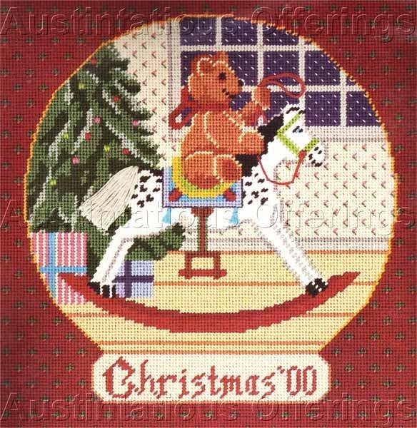 RARE KEVIN BURGESS CHRISTMAS FOLK ART TEDDY BEAR NEEDLEPOINT KIT ROCKING HORSE