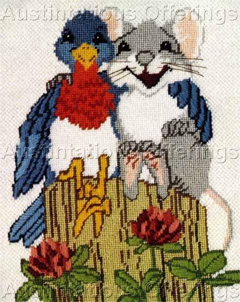 Rare Powell Bluebird Mouse Textured Needlepoint Kit Peep Squeak