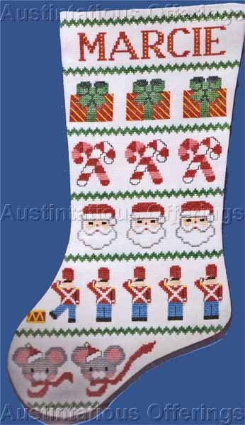 Cheery Christmas Band Sampler Cross Stitch Stocking Suitable for Beginner