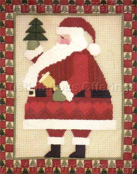 RARE KEVIN BURGESS CHRISTMAS FOLK ART SANTA CLAUS  TEXTURED NEEDLEPOINT KIT