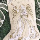 RARE IVORY TONES ANGEL & ANIMALS CREWEL EMBROIDERY STOCKING KIT