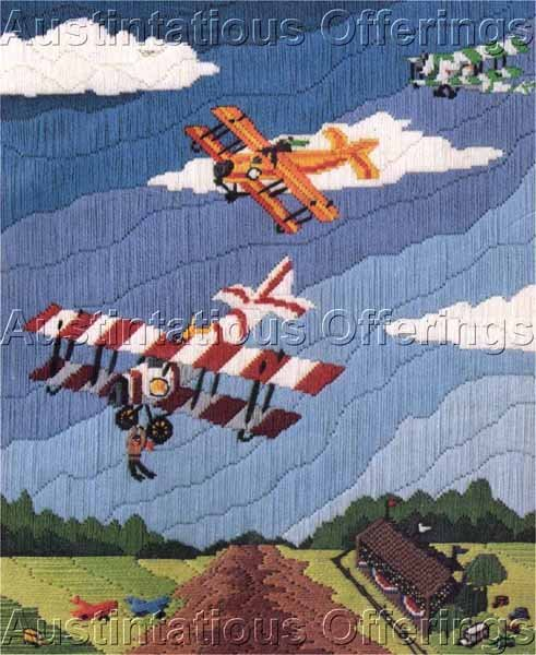 RARE BARNSTORMERS IN FLIGHT LONGSTITCH NEEDLEPOINT KIT FLYING CIRCUS AIR SHOW