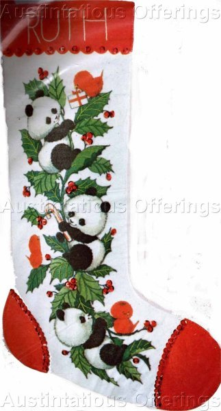 Rare Morehead Panda Crewel Embroidery  Felt Stocking Kit Red Birds Suitable for Beginners