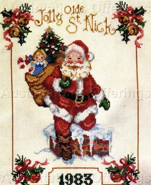 Rare Giampa Santa Claus Down the Chimney Cross Stitch Sampler Kit Saint Nicholas