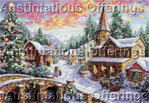 Nicky Boehme Christmas Village Cross Stitch Kit Holiday Sleigh Ride