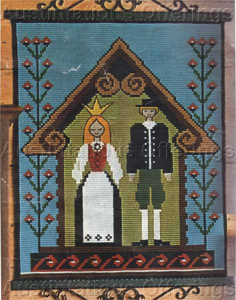 Rare Danish Folk Art Wedding Counted Needlepoint Kit Klostersom Stitches Penelope Canvas