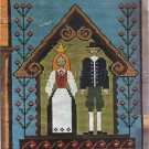 Rare Danish Folk Art Wedding Counted Needlepoint Kit Klostersom Stitches Penelope Canvas