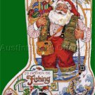 Rare Gillum Christmas Angler Santa Cross Stitch Stocking Kit Fisherman Right or Left Toe