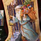 Rare Left / Right Toe Stocking Cross Stitch Kit Blue Robe Woodland Santa Beads