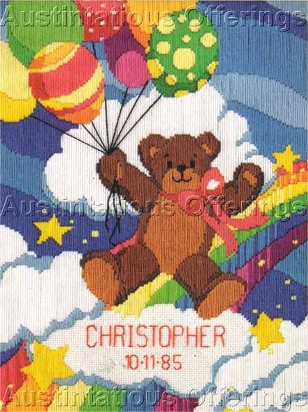 Lucy Rigg Teddy Bear Rainbow Longstitch Needlepoint Kit Birth Record