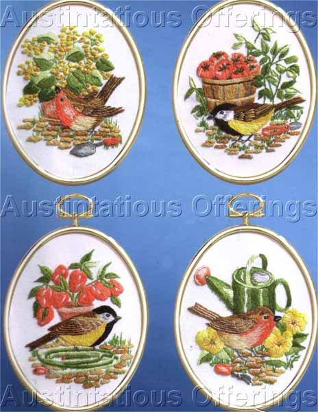 Eleanor Engel Birds in Garden Embroidery Kit Chickadees Wrens Crewel Stitchery