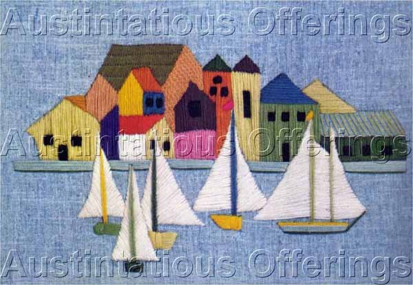 Mediterranean Sailing Vacation Crewel Embroidery Kit Harbor Seaside Village Sailboats