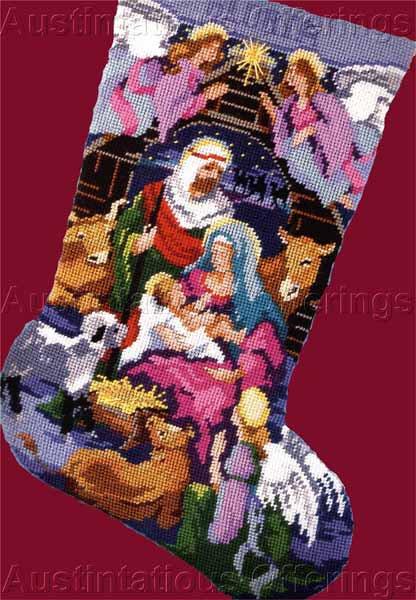 Rare Gillum Holy Family Manger Scene Needlepoint Christmas Stocking Kit