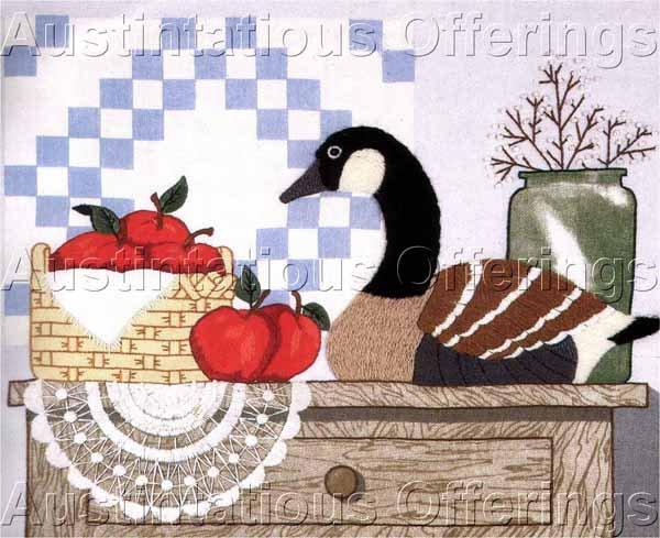 Country Folk Art Apple Basket Still Life Crewel Embroidery Kit Wooden Goose Decoy