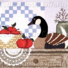 Country Folk Art Apple Basket Still Life Crewel Embroidery Kit Wooden Goose Decoy