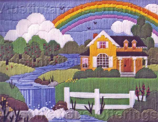 Rare Russell Bushee Summer House Rainbow Longstitch Needlepoint Kit