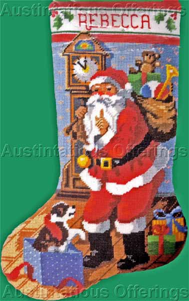 Rare Gillum Christmas Puppy Needlepoint Stocking Kit Santas Midnight Secret